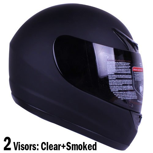 Matte Black Full Face Motorcycle Helmet DOT +2 Visor (Large)