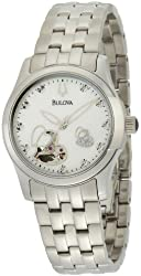 Bulova Women's 96P114 Automatic and Mechanical Diamond Mother-Of-Pearl Dial Watch