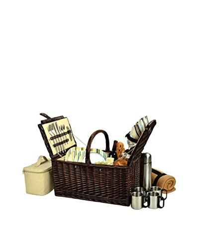 Picnic at Ascot Buckingham Basket for 4 with Blanket & Coffee Set, Wicker/Stripe