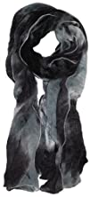 LibbySue-Watercolor Waterfall Sheer Print Scarf in Multi-Colors