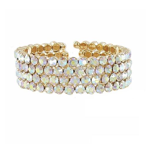 JOA Four Line Crystal Stone Cuff Bracelet #041377