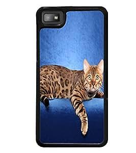 Printvisa Cute Cat Sitting On Sofa Back Case Cover for Blackberry Z10