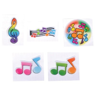 1.5-inch Puffy Musical Note Stickers (Bulk Pack of 72 Stickers) - 1