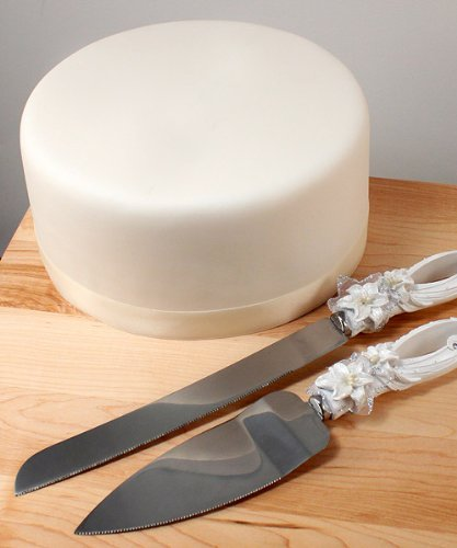 Weddingstar Sculptural White Tiger Lilies Cake Serving Set