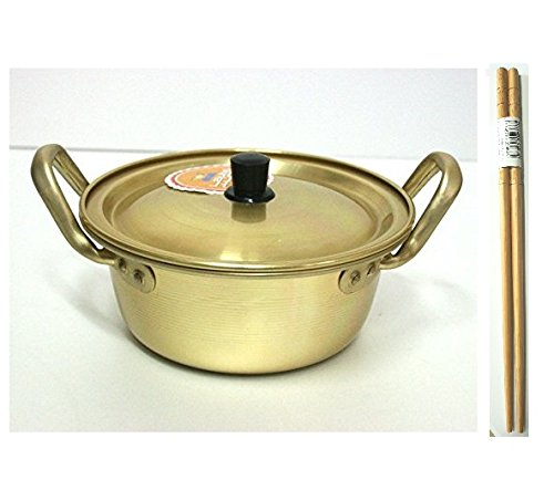 "Korean Noodle Pot Hot Shin Ramyun Aluminum 6.3""(16cm) + SoltreeBundle Natural Bamboo Chopstick (1 Pairs)"