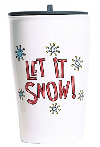 C.R. Gibson Porcelain Double Wall Travel Cup With Lid, Let It Snow
