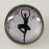 Chunk Snap Charm Ballerina Print Glass Cover 18 mm