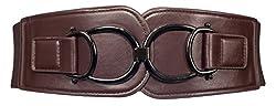 eVogues Plus Size Leatherette Elastic Belt Brown - One Size Plus