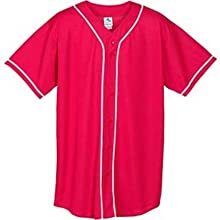 Wicking Mesh Button Front Baseball Jersey with Braid Trim from Augusta Sportswear