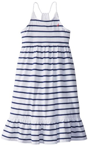 Nautica Little Girls' Maxi Dress With Rope Strap, Sail White, 3T back-1011953