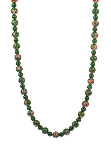 8mm Green Cloisonne and 6mm Malachite with Gold Plated Sterling Silver Clasp Necklace, 18
