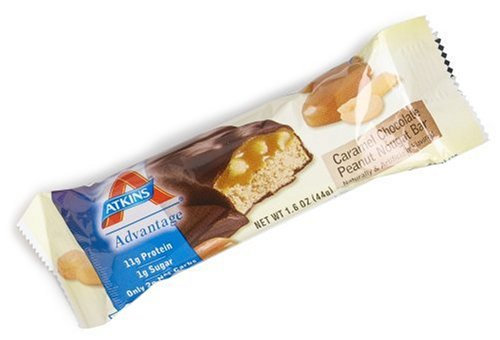 Atkins Advantage Caramel Bars, Chocolate Peanut Nougat, 1.6-Ounce Bars (Pack of 15)
