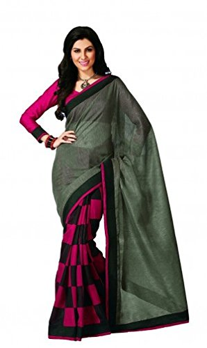 SRP Fashion Selection dark Green and Pink colour cotton silk saree