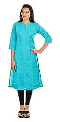 SAIFASHIONS Women's Cotton Kurta (kur-600, Turquoise, X-Large)