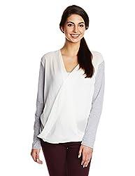 KIMYRA Women's Body Blouse Shirt (4749_Grey and White_Medium)