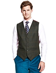 Sartorial Wool Rich 5 Button Herringbone Checked Waistcoat