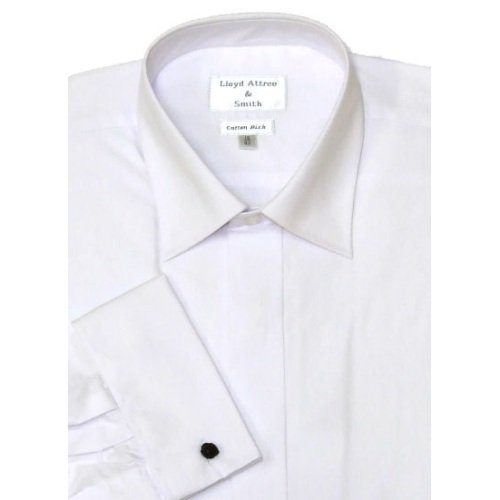 Mens Standard Collar Cotton Rich Formal Dress Shirt White with Double Cuff