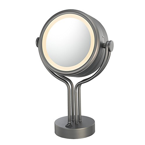 Kimball And Young 71495 Double-Sided Contemporary Four Post Vanity Mirror, 1X And 5X Magnification, Bronze front-722656