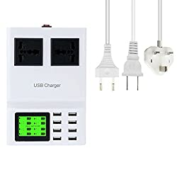 Mobilegear 8 USB & 2 Socket Wall Charger cum Extension Cord with Smart LED Display for Mobiles Tablets & Other Devices