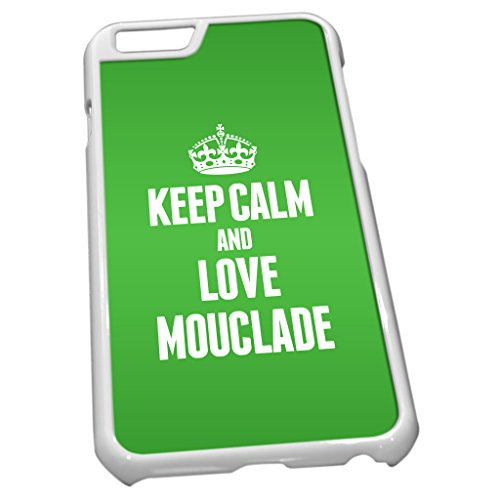 Blanc Coque pour iPhone 6 1296 Vert Keep Calm and Love mouclade
