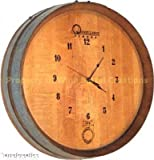 1/4 Wine Barrel Head Wall Clock, Solid Oak Made By Wine Barrel Creations