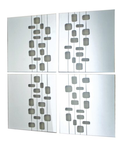 Nexxt by Linea Mosaic-Lined Mirror, Set of 4