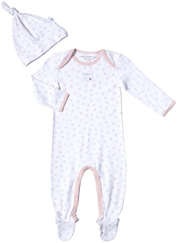 Burt'S Bees Baby Baby Girls' Honeybee Print Footed Coverall Set (Baby)-Blossom - Preemie front-915266
