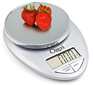 Ozeri Pro Digital Kitchen Food Scale, 1g to 12 lbs Capacity, in Elegant Chrome