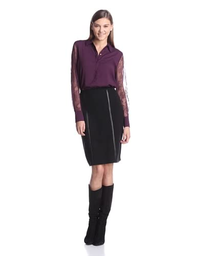 Calvin Klein Women's Long Sleeve Top With Lace Sleeves  [Aubergine]