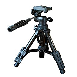 RetiCAM Tabletop Tripod with 3-Way Pan/Tilt Head, Quick Release Plate and Carrying Bag - MT01, Aluminum, Black