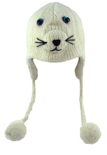 DeLux Baby Seal Face White Wool Pilot Animal Cap/Hat with Ear Flaps and Poms