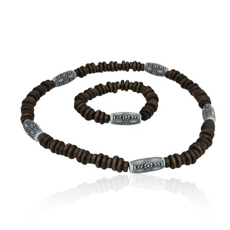 MizEllie Teenage Jewellery Brown Matching Wooden Necklace And Bracelet Bangle Set