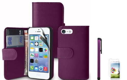 PURPLE WALLET LEATHER FLIP CASE COVER FOR IPHONE 5 5G + SCREEN PROTECTOR & POLISHING CLOTH & STYLUS PEN Black Friday & Cyber Monday 2014