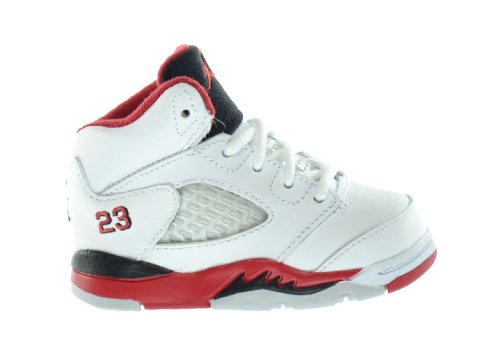 Air Jordan 5 Retro (TD) Baby Toddlers Basketball Shoes White/Fire Red-Black 440890-120-10