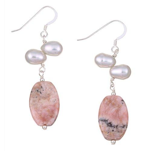 Sterling Silver Rhodochrosite and Freshwater Pearl Earrings (6 mm)