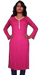 Miraaya Women's Cotton Hosiery Kurti (M2432B_78074_Pink_Small)