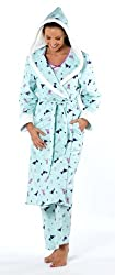 Ladies Scotty Dog Flannel Cotton Dressing Gown/Robe Aqua or Pink Size 10 - 20