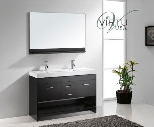 Virtu Usa Md-423-C-Es Gloria 47-Inch Double Sink Bathroom Vanity Set, Espresso Finish