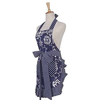 Floral Apron for Women with Pockets, Extra Long Ties, G2PLUS Vintage Apron, Perfect for Kitchen Cooking, Baking and Gardening, 29 x 21 – inch (Blue)