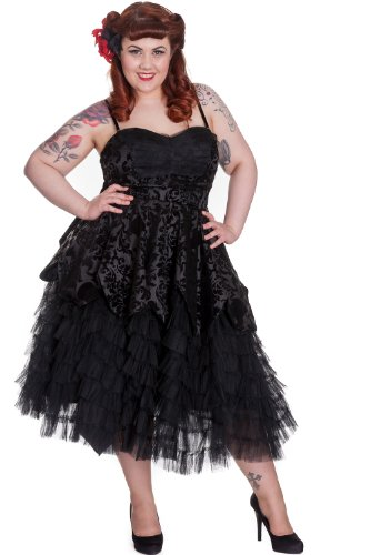 Hell Bunny Plus Gothic Victorian Midnight Ball Black Lace Ruffled Dress