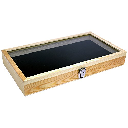 Natural Wood Glass Top Lid Black Pad Display Box Case Medals Awards Jewelry Knife (Display Case For Knives compare prices)