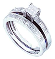 14K White Gold Princess and Baguette Diamond Engagement Ring with Wedding Band Set