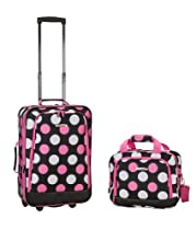 Rockland Luggage 2 Piece Printed Luggage Set, Mulpink Dots, Medium