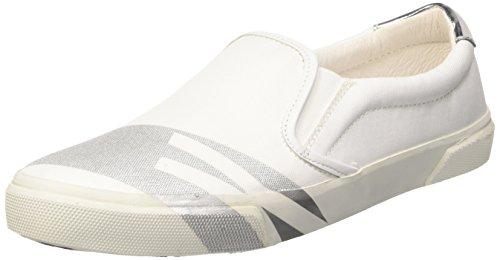 Bikkembergs Rubb-Er 691 Slip On W Piquet/Leather, Scarpe Low-Top Donna, Bianco (White/Silver), 38 EU