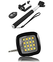 PH Artistic Wireless Bluetooth Remote Selfie Stick & Mobile Holder & Selfie Flash Fill-In Light For All Mobile Phones (Black)