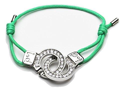 """Polsino s by i.d x-change Of Love """", con zirconia cubica incastonata, polsini"""" Love-Braccialetto dell'amicizia con corda di raso, Verde, colore: green, cod. XC03 GRN"""
