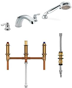 Moen T991 9796 Chateau Two Handle Low Arc Roman Tub Faucet With Hand Shower W