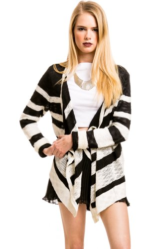 Knit Longsleeve Striped Blouse in Black and White