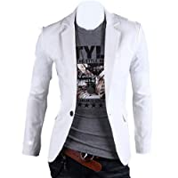 Fashion Mens Spring Slim Fit Blazer Stylish One Button Outerwear, Medium, White