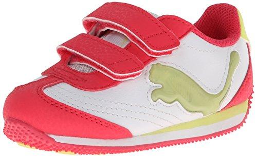 Puma Speeder Illuminescent V Light-Up Sneaker (Toddler/Little Kid/Big Kid),White/Paradise Pink/Blue Atoll,11 M Us Little Kid front-1030874